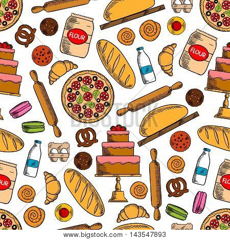 Bread, pepperoni pizza, cake, cupcake, croissant, cinnamon bun, macaron, pretzel, flour, milk, eggs and rolling pin seamless pattern background Bakery and pastry shop baking concept design