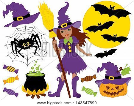 Vector African American witch with broomstick spider bats moon and pumpkin