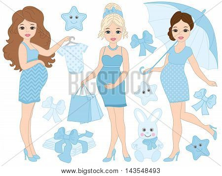 Vector pregnant women set with baby's clothes and toys in blue color