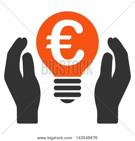 Euro Patent Care icon. Vector style is bicolor flat iconic symbol with rounded angles, orange and gray colors, white background.