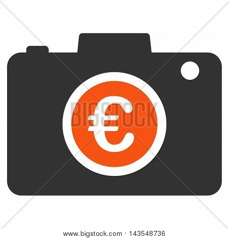 Euro Photo icon. Vector style is bicolor flat iconic symbol with rounded angles, orange and gray colors, white background.