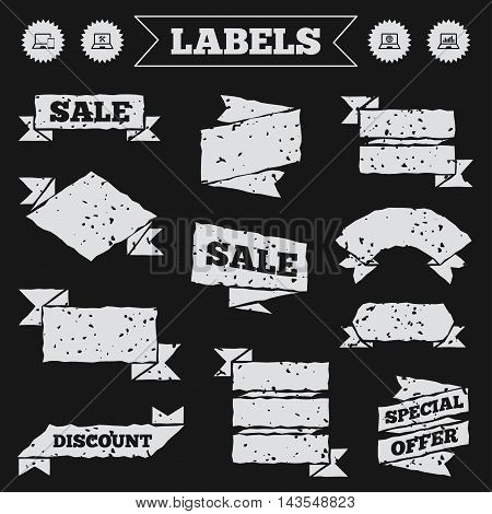 Stickers, tags and banners with grunge. Notebook laptop pc icons. Internet globe sign. Repair fix service symbol. Monitoring graph chart. Sale or discount labels. Vector