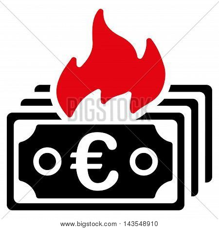 Burn Euro Banknotes icon. Vector style is bicolor flat iconic symbol with rounded angles, intensive red and black colors, white background.