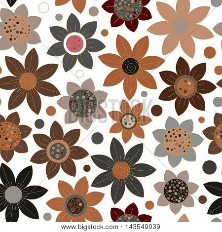 Floral seamless cute pattern simple design. Primitive flowers seamless ornament. Brown flowers on white background. Vector illustration