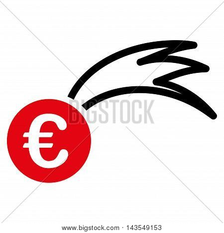 Euro Falling Meteor icon. Vector style is bicolor flat iconic symbol with rounded angles, intensive red and black colors, white background.