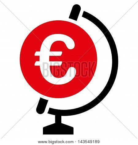 Euro Globe icon. Vector style is bicolor flat iconic symbol with rounded angles, intensive red and black colors, white background.