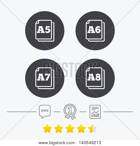 Paper size standard icons. Document symbols. A5, A6, A7 and A8 page signs. Chat, award medal and report linear icons. Star vote ranking. Vector