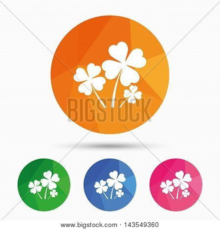 Clovers with four leaves sign icon. Saint Patrick symbol. Triangular low poly button with flat icon. Vector