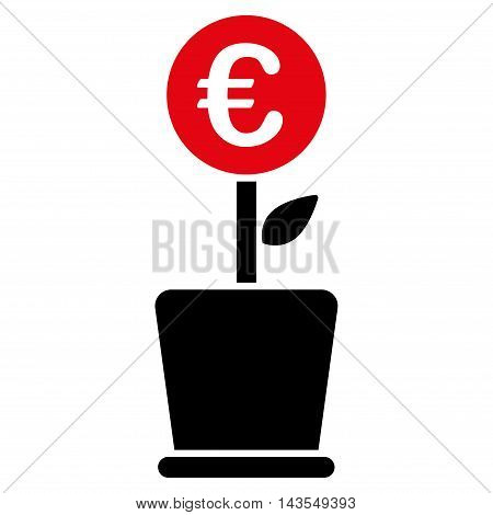 Euro Project Pot icon. Vector style is bicolor flat iconic symbol with rounded angles, intensive red and black colors, white background.
