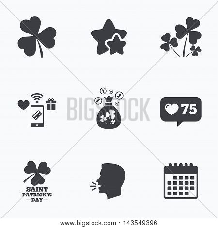Saint Patrick day icons. Money bag with clover and coins sign. Trefoil shamrock clover. Symbol of good luck. Flat talking head, calendar icons. Stars, like counter icons. Vector