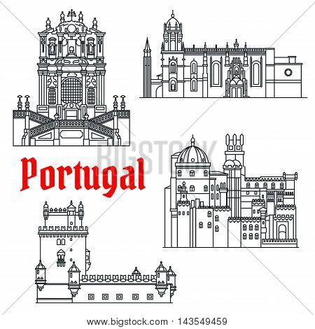 Portugese travel sights icon with Clerigos Church, Tower of St Vincent or Belem Tower, Pena Palace and Hieronymites Monastery. Cultural tourism or travel design. Thin line style