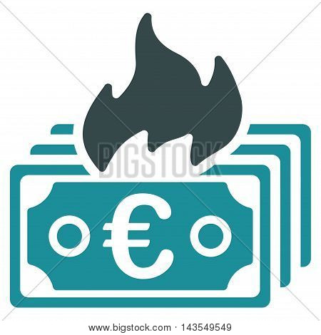 Burn Euro Banknotes icon. Vector style is bicolor flat iconic symbol with rounded angles, soft blue colors, white background.