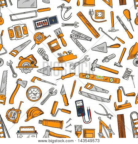 Building tool and equipment seamless pattern of hammer, trowel, spanner, saw, paintbrush, axe, wheelbarrow, jack plane, rasp, hard hat, light bulb, tape measure awl ladder battery ruler socket
