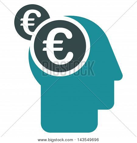 Euro Businessman Intellect icon. Vector style is bicolor flat iconic symbol with rounded angles, soft blue colors, white background.