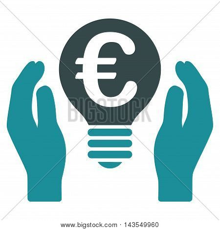 Euro Patent Care icon. Vector style is bicolor flat iconic symbol with rounded angles, soft blue colors, white background.