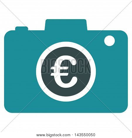 Euro Photo icon. Vector style is bicolor flat iconic symbol with rounded angles, soft blue colors, white background.