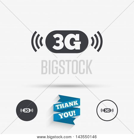 3G sign icon. Mobile telecommunications technology symbol. Flat icons. Buttons with icons. Thank you ribbon. Vector