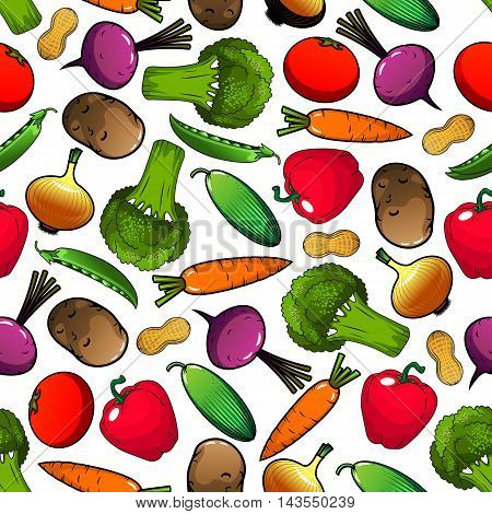 Vegetables pattern with seamless background of tomato, bell pepper, onion, broccoli, carrot, peanut, cucumber, potato, green pea, beet vegetables. Organic farming agriculture vegetarian food design