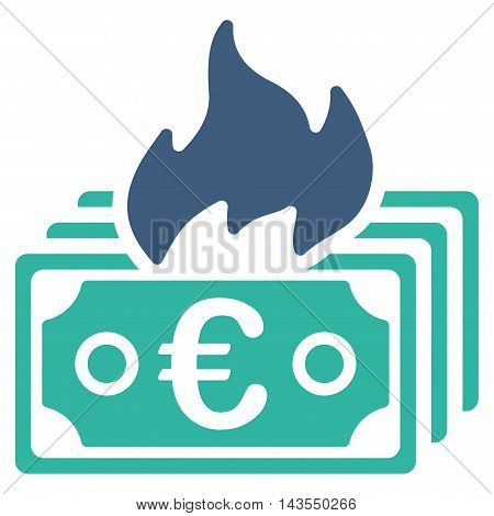 Burn Euro Banknotes icon. Vector style is bicolor flat iconic symbol with rounded angles, cobalt and cyan colors, white background.