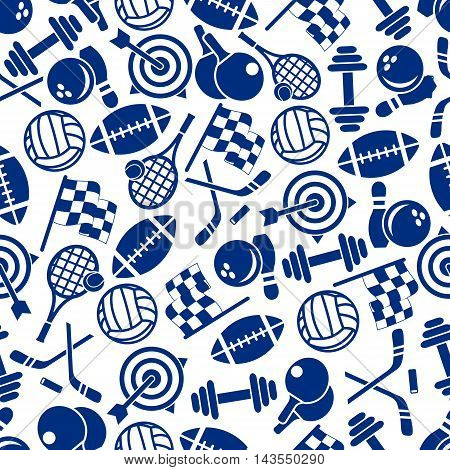Sporting item and equipment seamless pattern with american football and volleyball ball, tennis racket, ice hockey stick and puck, bowling ball and ninepin, motorsport racing flag, target and dumbbell