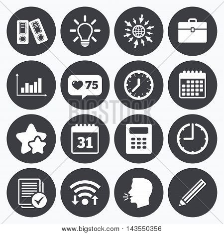 Calendar, wifi and clock symbols. Like counter, stars symbols. Office, documents and business icons. Accounting, calculator and case signs. Ideas, calendar and statistics symbols. Talking head, go to web symbols. Vector