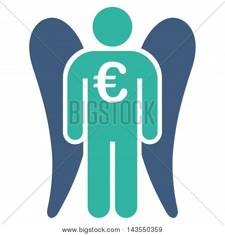 Euro Angel Investor icon. Vector style is bicolor flat iconic symbol with rounded angles, cobalt and cyan colors, white background.