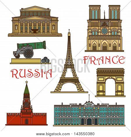 World famous landmarks of Russia and France linear icon with Eiffel Tower, Red Square and Kremlin, Notre Dame Cathedral, Arch of Triumph, Winter Palace, Bolshoi Theatre and Tsar Cannon. Travel design