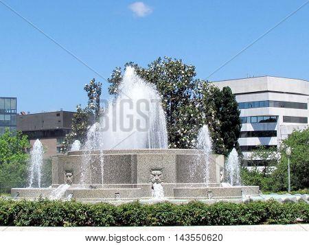 View of Senate Garage Fountain in Lower Senate Park Washington DC