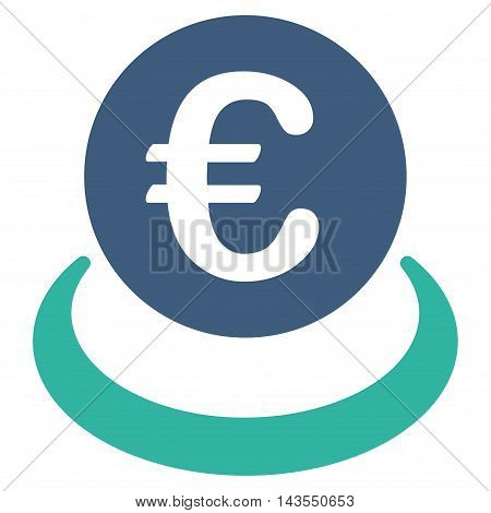 Euro Deposit icon. Vector style is bicolor flat iconic symbol with rounded angles, cobalt and cyan colors, white background.