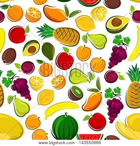 Pattern of sweet fruits with seamless background of orange, apple, plum, banana, mango, peach, lemon, grain, pineapple, kiwi, watermelon, avocado pear and melon Agriculture and food design