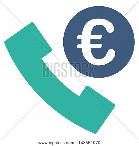 Euro Phone Order icon. Vector style is bicolor flat iconic symbol with rounded angles, cobalt and cyan colors, white background.