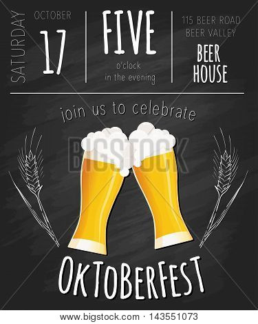 Vector illustration of hand drawn oktoberfest poster with two flat beer mugs on chalkboard.