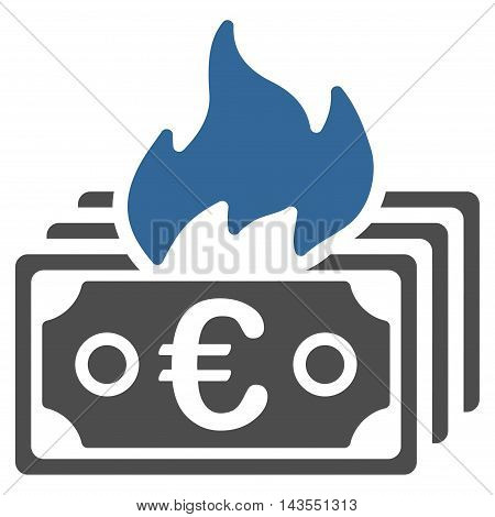 Burn Euro Banknotes icon. Vector style is bicolor flat iconic symbol with rounded angles, cobalt and gray colors, white background.