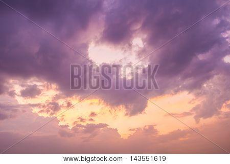 Beautiful Abstract Sunset Backgroung at Bangkok, Thailand.