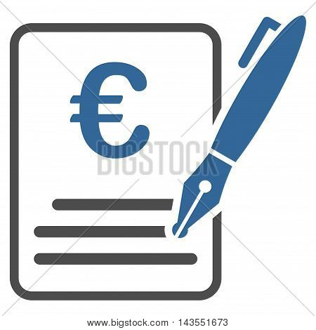 Euro Contract Signature icon. Vector style is bicolor flat iconic symbol with rounded angles, cobalt and gray colors, white background.