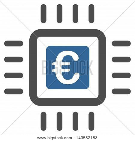 Euro Processor icon. Vector style is bicolor flat iconic symbol with rounded angles, cobalt and gray colors, white background.