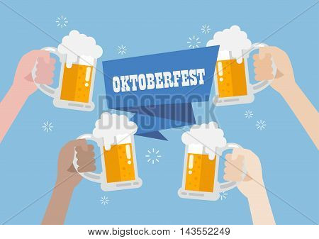 Oktoberfest. People clinking beer glasses. vector illustration