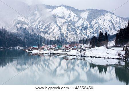 City with winter landscape along Tadami River in Fukushima Japan