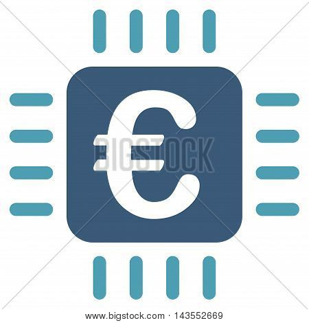 Euro Chip icon. Vector style is bicolor flat iconic symbol with rounded angles, cyan and blue colors, white background.
