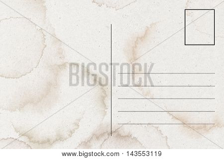 Blank Airmail postcard template with dirty stains