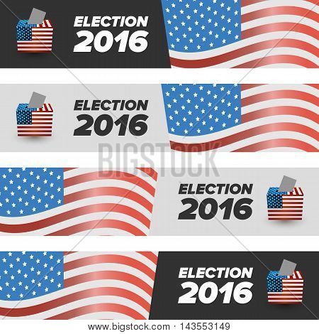 United States Election Vote banners with shabow on white background