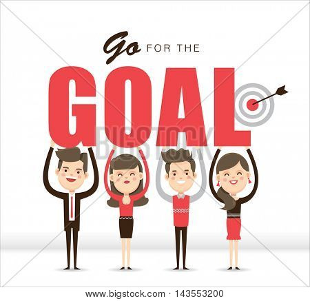 Go for the Goal. Group of people with word GOAL in hands.