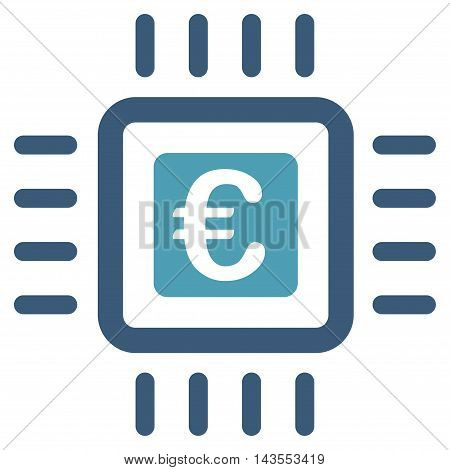Euro Processor icon. Vector style is bicolor flat iconic symbol with rounded angles, cyan and blue colors, white background.