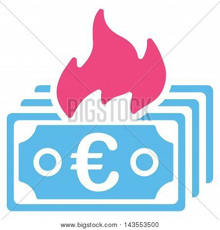 Burn Euro Banknotes icon. Vector style is bicolor flat iconic symbol with rounded angles, pink and blue colors, white background.