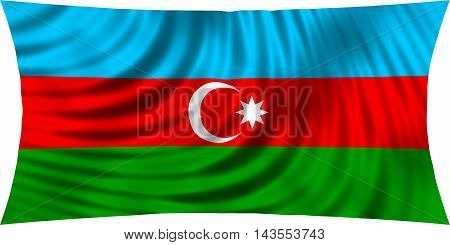 Flag of Azerbaijan waving in wind isolated on white background. Azerbaijani national flag. Patriotic symbolic design. 3d rendered illustration
