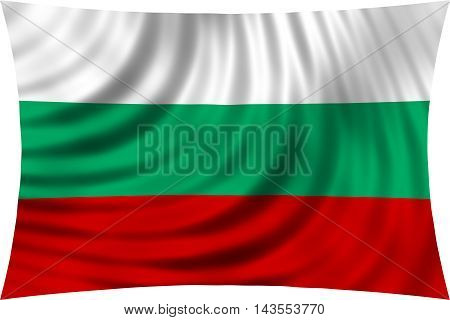 Flag of Bulgaria waving in wind isolated on white background. Bulgarian national flag. Patriotic symbolic design. 3d rendered illustration