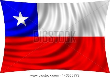 Flag of Chile waving in wind isolated on white background. Chilean national flag. Patriotic symbolic design. 3d rendered illustration