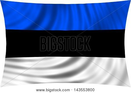 Flag of Estonia waving in wind isolated on white background. Estonian national flag. Patriotic symbolic design. 3d rendered illustration