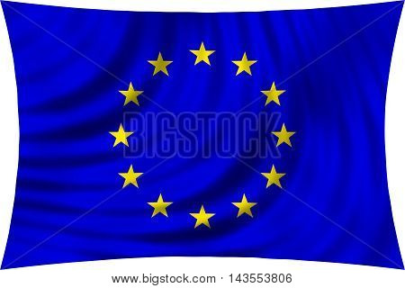 Flag of Europe waving in wind isolated on white background. European Union flag. Patriotic symbolic EU design. 3d rendered illustration