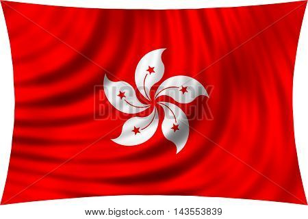 Flag of Hong Kong waving in wind isolated on white background. The Hong Kong is special administrative region of the People's Republic of China. Patriotic symbolic design. 3d rendered illustration